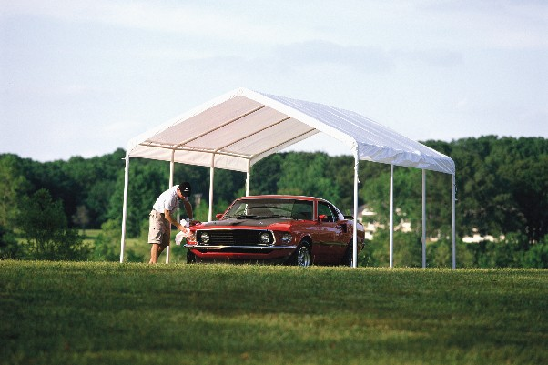 Enclosed Carports Car Canopies : Portable garage shelter storage buildings canopies