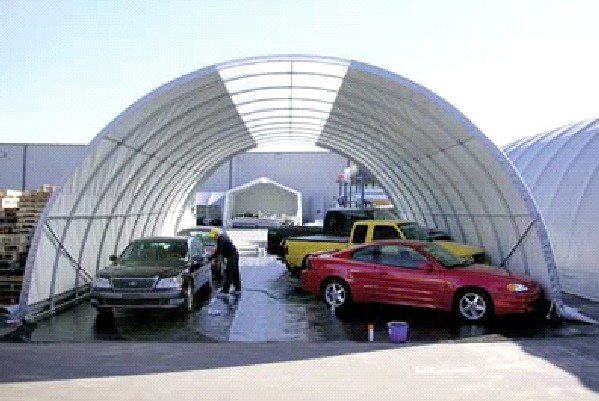 Fabric Car Shelters : Hoop shelter storage buildings for any application